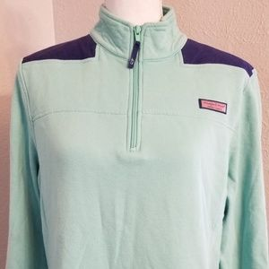 Vineyard Vines 1/4 Zip Turquoise and Navy Sz Lrg